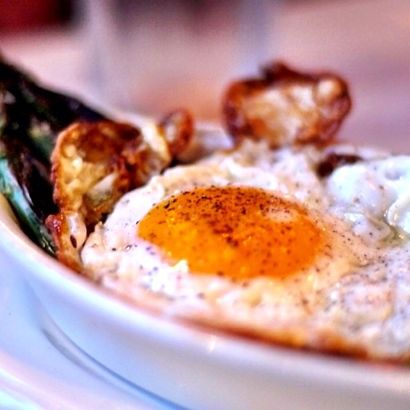 grilled asparagus w/melted mozzarella topped w/fried egg. - Sauce, New York, NY