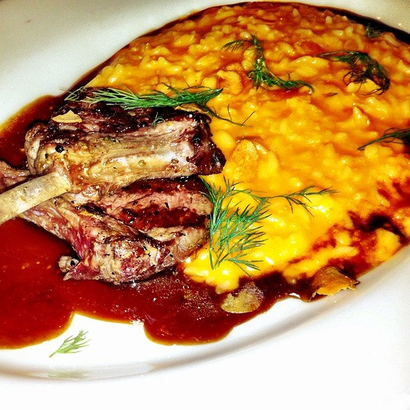 Lamb Rack Cutlets with Wild Mushroom Risotto And Grilled Veg @ Vespaio