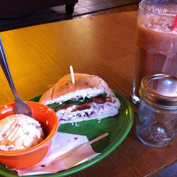 The Ubehebe: Oven Roasted Turkey Breast, Cream Cheese N Cranberry Sauce, Red Onion N Mayo Sandwich  @ Krakatoa
