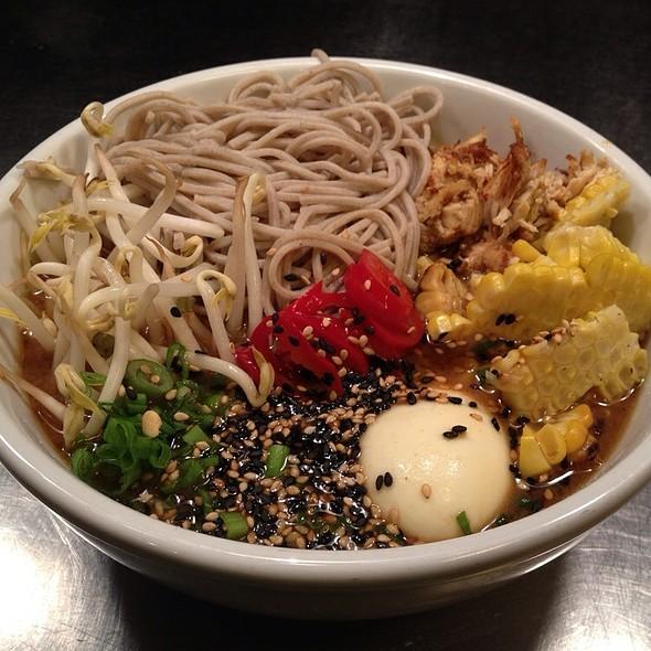 Spicy Chicken Noodle:  Mungbean, Soba, Soft Boiled Egg. @ Gigi BBQ•Noodles•Beer