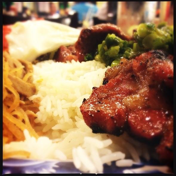 Charbroiled Pork Chop, Pork Skin & Egg Quiche @ pho so 1 restaurant