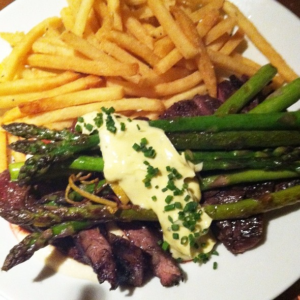 Steak Frites, Lemon And Thyme Roasted Asparagus, Parsnip, Sauce Bearnaise  @ Garden At the Cellar