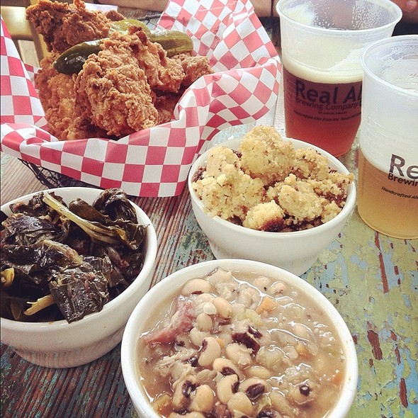 Fried Chicken, Blackeyed Peas, Collard Greens & Cornbread Dressing @ Lucy's Fried Chicken