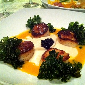 Seared Scallops With Fried Kale And Cauiflower Puree