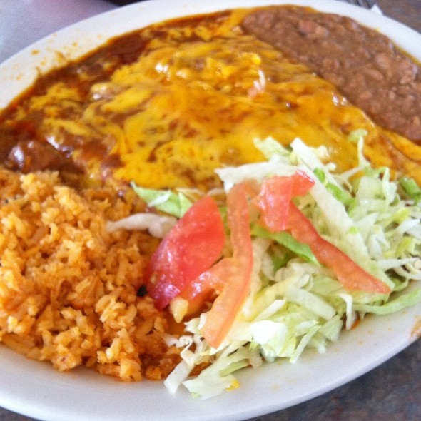 Chicken Enchiladas Plate @ Taqueria Los Dos Laredos