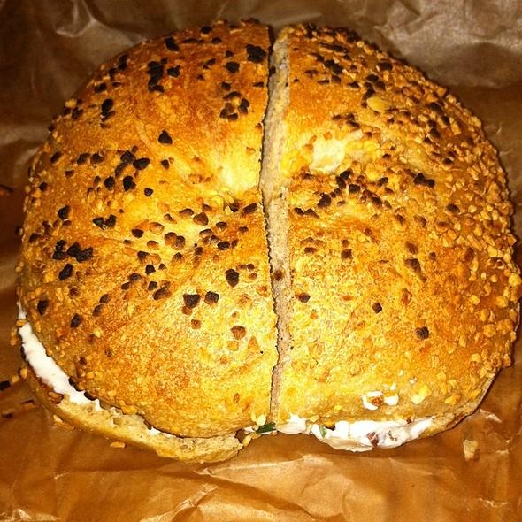 Garlic Bagel With Bacon Scallion Cream Cheese @ Brooklyn Bagel & Coffee Co