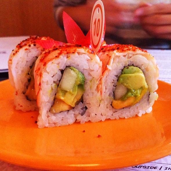 Shrimp With Chile Piquin, Mango, Cucumber, Fried Plantains And Avocado Sushi @ Taka Taka
