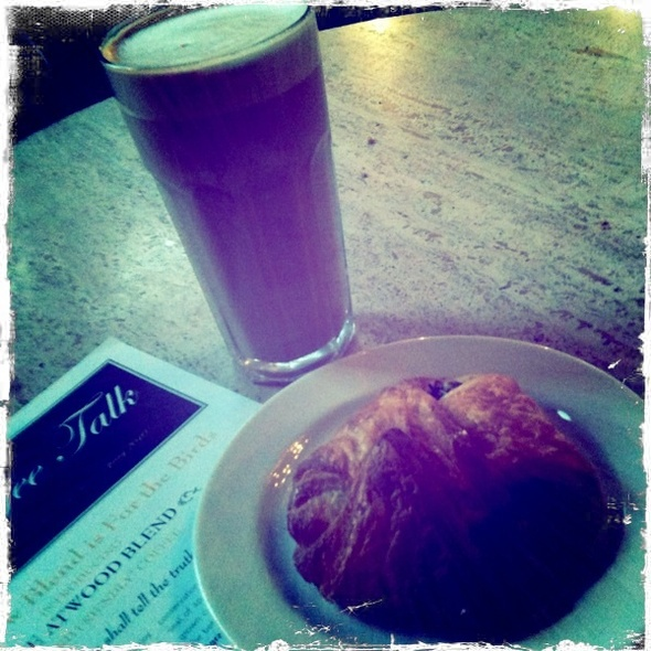 Cafe Au Lait And Spinach And Feta Croissant