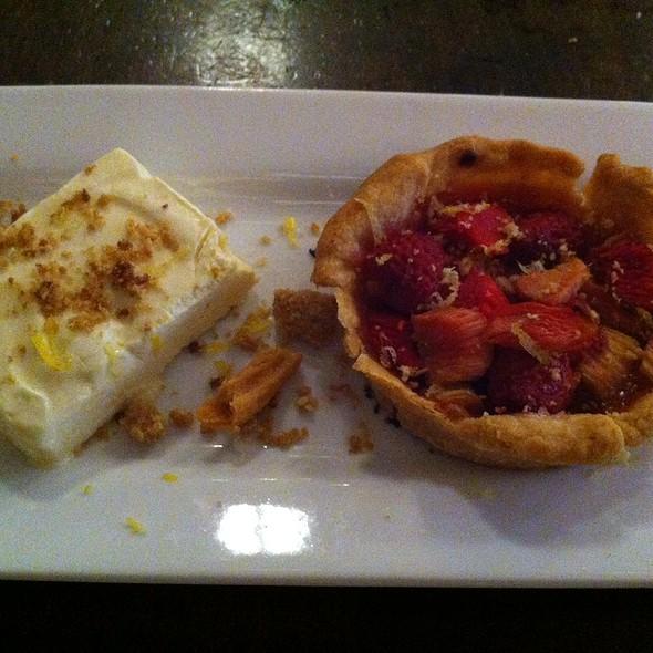 Rhubarb Pie with Seasonal Berries, Honey Semifreddo, and Brown Sugar Crumble @ Revolution Brewing