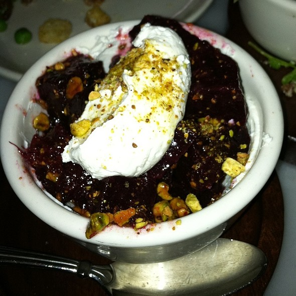 Salted Beets With Goat Cheese And Pistachos @ The Purple Pig
