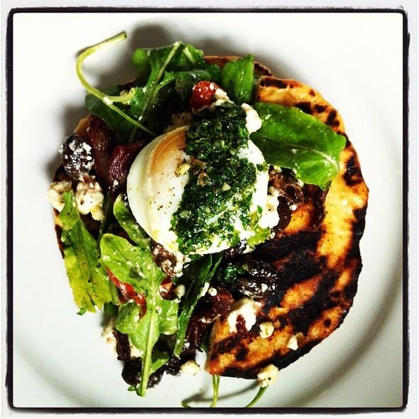 Lamb Bacon, Greens, Olives, Flatbread, Soft Egg @ The hungry cat Santa Monica