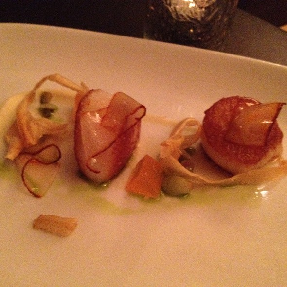 Sea Scallops, Parsley Root, Grapefruit, Ramps, Smoked Paprika Lardo @ Sepia