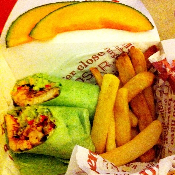 Whiskey River BBQ Chicken Wrap w/Fries @ Red Robin Gourmet Burgers