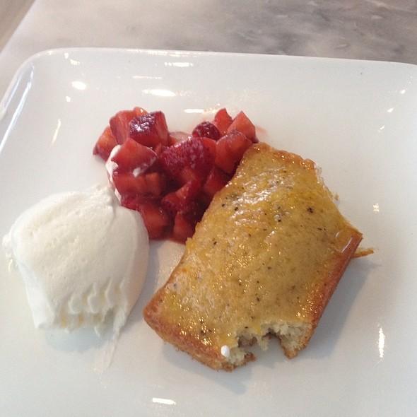 Almond Butter Cake And Strawberriers W/ Creme @ Birch Street Bistro