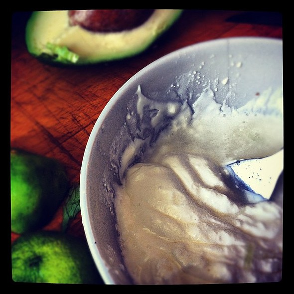 breakfast yogurt with avocado & honey #breakfast #lime #avocado #thursday  #summer sex #meandmydinner porn #followme #followback #yogurt #healthy @ The Kitchen