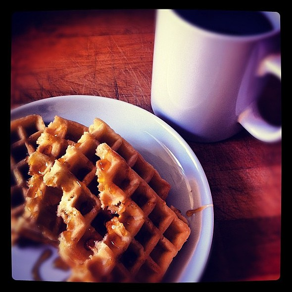 breakfast waffles and blackcoffee #waffles #honey #forresthoney #coffee #blackcoffee #breakfast #followback #followme #meandmydinner sex #summer  #instagrammers #healthy @ The Kitchen
