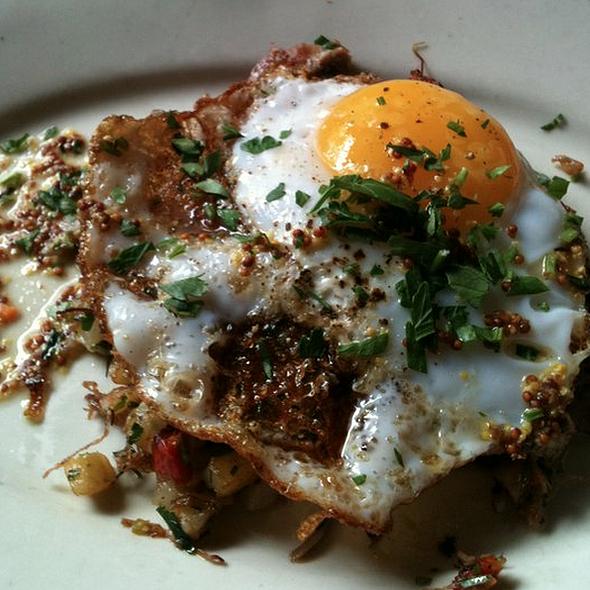 sunny duck eggs on duck confit hash @ Gjelina