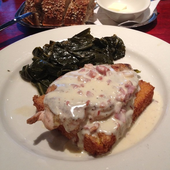 Suffolk Chicken On A Grit Cake With Collard Greens - Lucky 32 Southern Kitchen - Cary, Cary, NC