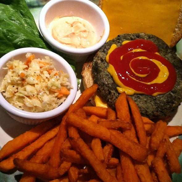 Organic Veggie Burger With Sweet Potato Fries - Calzolaio Pasta Co., Wilton, ME
