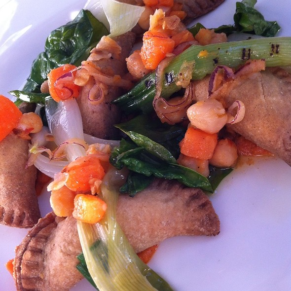 Sweet Potatoes & Hazelnut  Empanadas, Romesco Sauce, Grilled Spring Onion And Wilted Spinach @ Tannery Restaurant