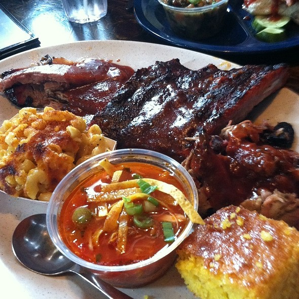 Barbecue Brisket and Pulled Pork w Sides @ Dinosaur Bar-B-Que
