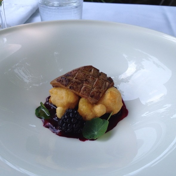 Hudson Valley Foie Gras With Corn Fritters, Blackberries, And Blackberry Lavendar Gastrique, Nasturtium Leaves - The Schoolhouse at Cannondale, Wilton, CT