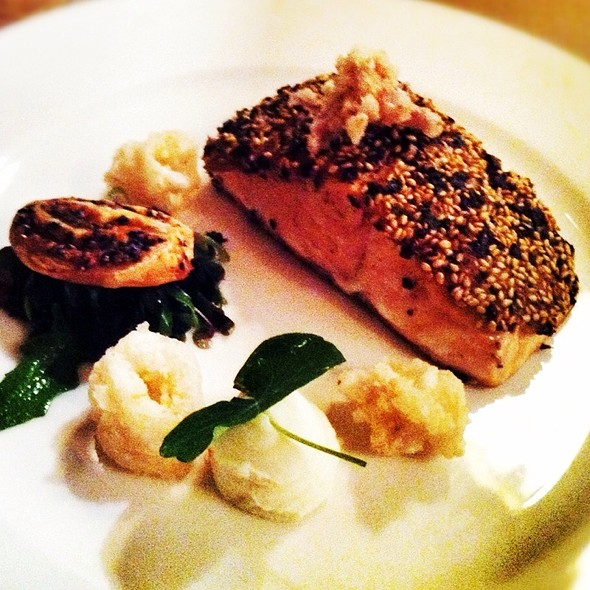 Sesame Crusted Salmon, Calamari, Almond Cream @ tank restaurant & bar