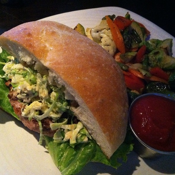 Turkey Burger With Brussel Sprouts & Beer Mustard Slaw - Red Feather Lounge, Boise, ID