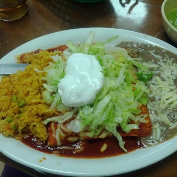 Enchiladas Supremas with Shredded Chicken @ Taqueria El Bronco