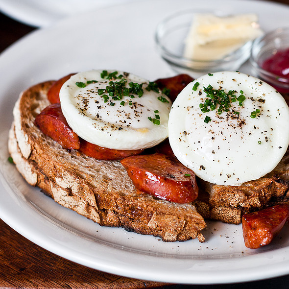 Chorizo, toasted levain, and poached eggs