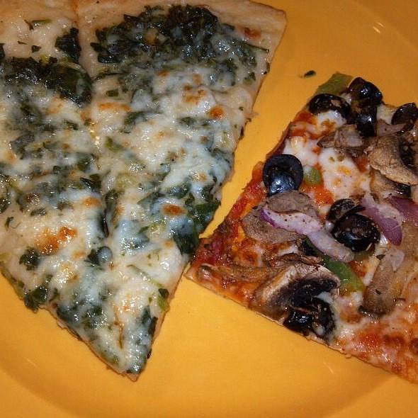 Spinach Alfredo and Sicilian Style Veggie Pizzas