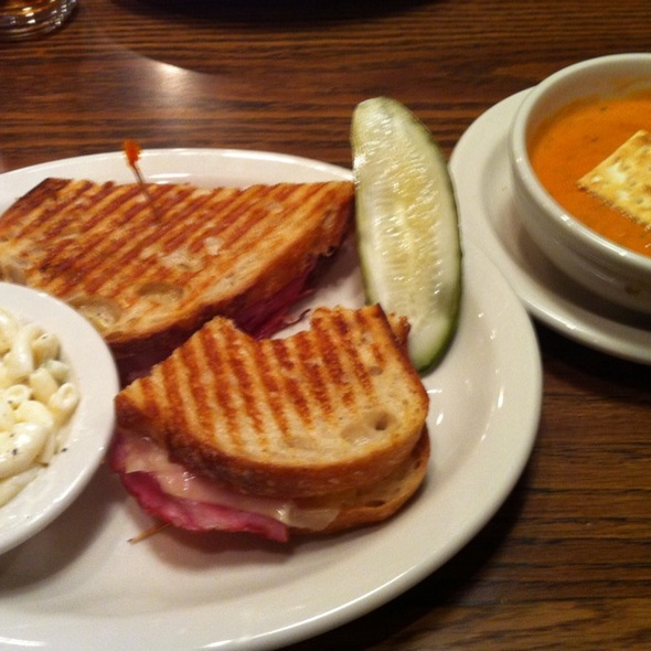 Black Forest Ham & Gruyere Sandwich, Creamy Tomato Soup With Bacon & Gorgonzola