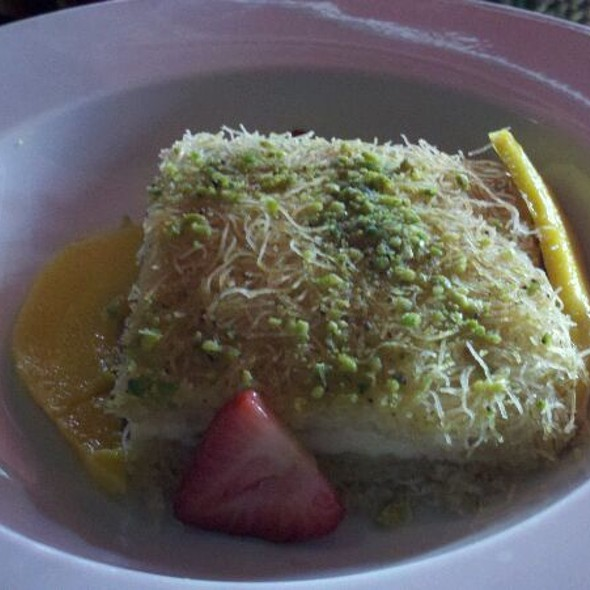 Knafa - Homemade shredded dough w/mediterranean cheese flavored with orange blossom - Canal Bistro - Mediterranean Grill, Indianapolis, IN