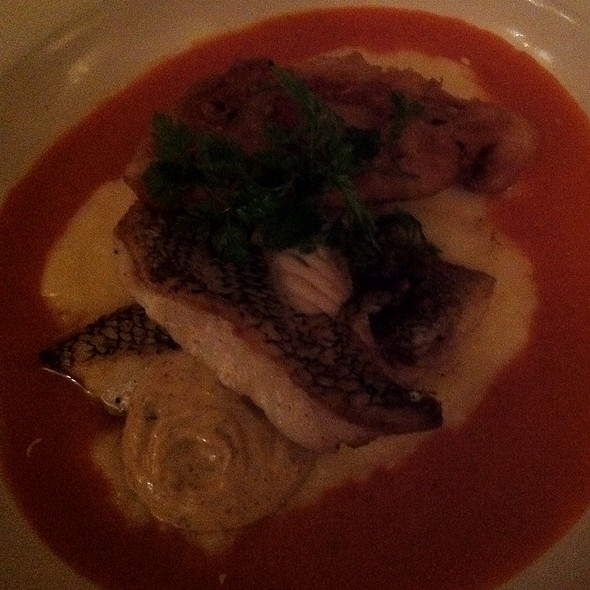 Sea Bass With Cheddar Grits, Remoulade, And Fried Tomato