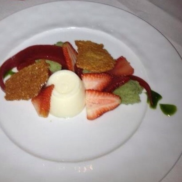 Strawberry Basil Panna Cotta - Satterfield's Restaurant, Birmingham, AL