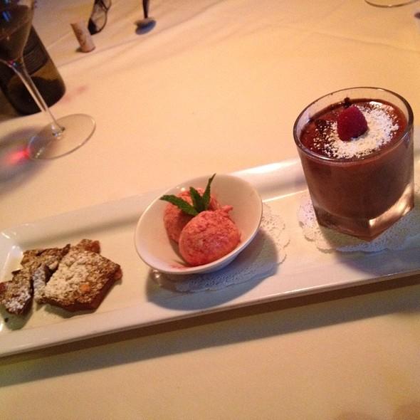 Chocolate-Espresso Budino With Red Velvet Gelato & Almond Toffee - Cork Tree Restaurant, Palm Desert, CA