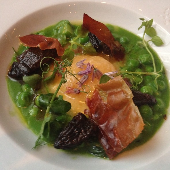 Raviolo 'Al Sole' With Green Peas, Girolle Mushrooms, Egg, Speck @ Frenchie