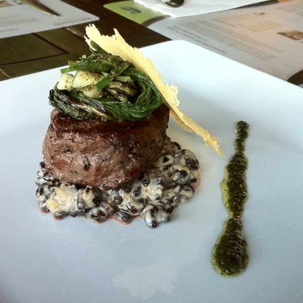 "Beef Fillet, Black Bean ""Risotto"", Grilled Scallions & Basil Hazelnut Pesto @ Bhundhari Spa Resort & Villas Samui, A Centara Resort"