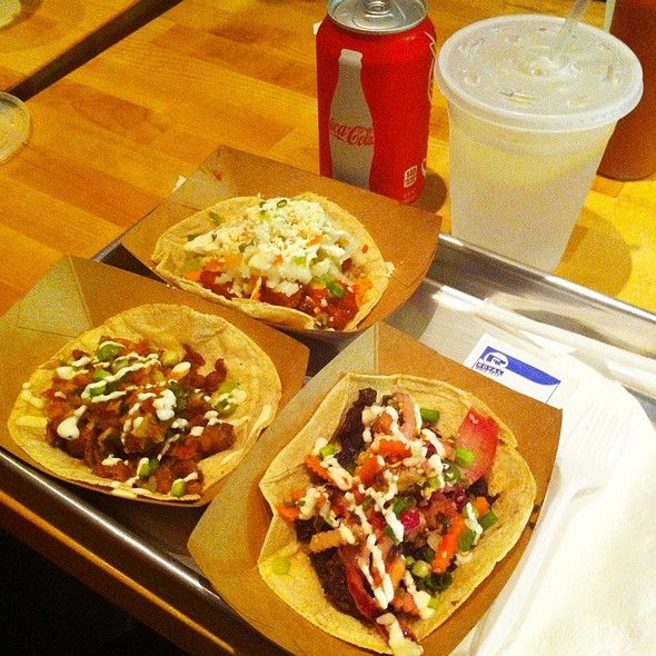 Grilled Korean Bbq Short Rib Taci, Seared Spicy Pork Taco, Korean Fried Chicken Taco With Guacamole And A Coke