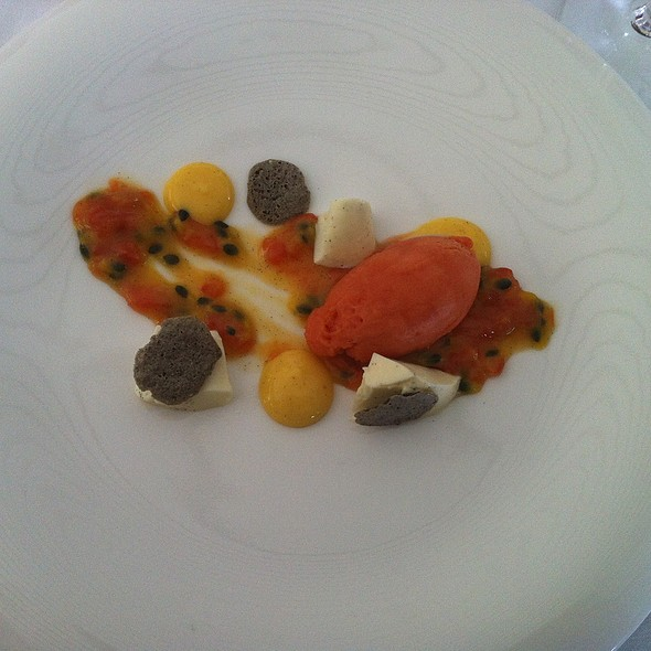 Passionfruit and Sweet Tomato Sorbet with Black Sesame Meringue