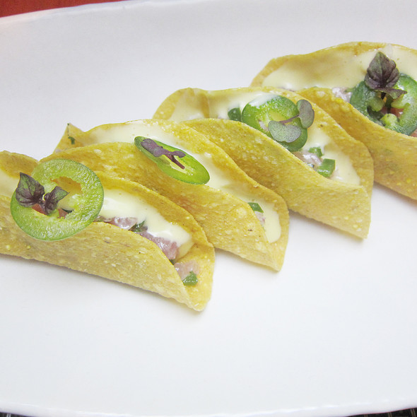 Tuna Tartare Tacos with Jalapeno Chilli and Mexican White Sauce @ SKYE