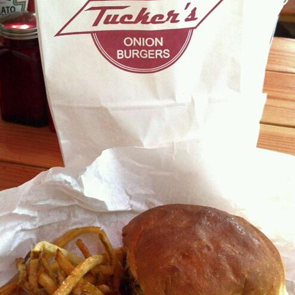 Single Onion Burger With Cheese And Fries @ Tucker's Onion Burgers