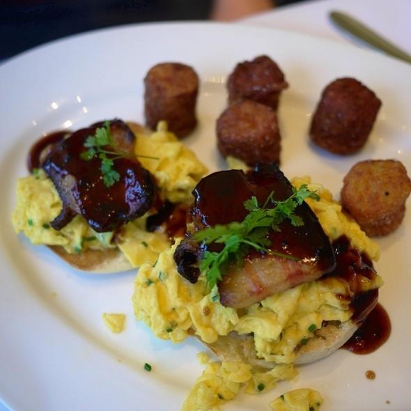 """Open-Face"" Parmesan Scrambled Egg Sandwich - Chaya Brasserie, San Francisco, CA"