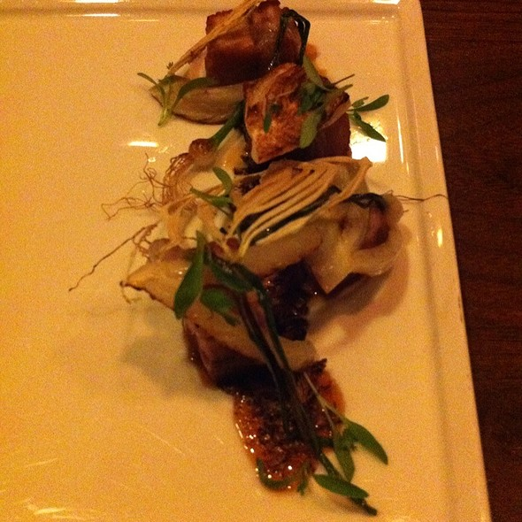 Bacon Tataki Pork Belly Black Lime Coriander. Citrus. Espresso Fish Caramel @ Uchiko