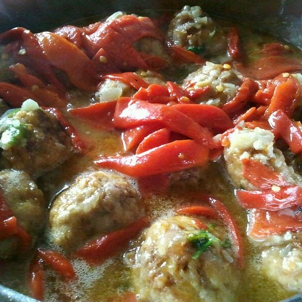 Veal Meatballs with Peppers and Brandy Sauce. @ Mi Casa. My Home