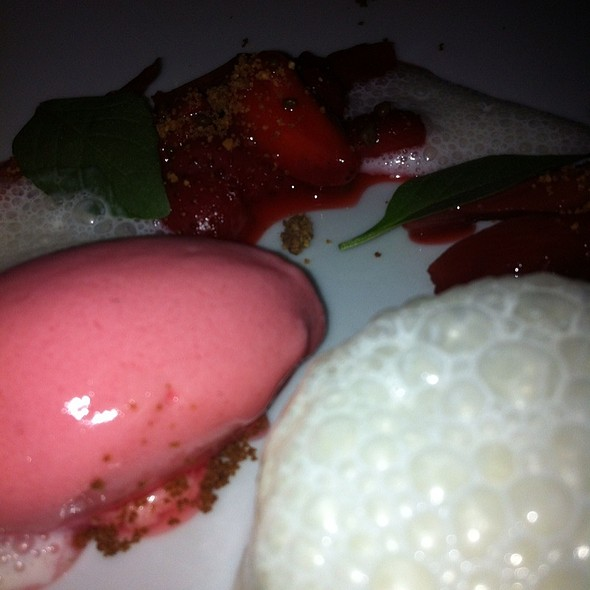 Buttermilk Mousse With Rhubarb Icecream  @ Shane's Restaurant