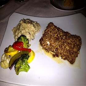 Pecan-Crusted Grouper With Mushroom Risotto