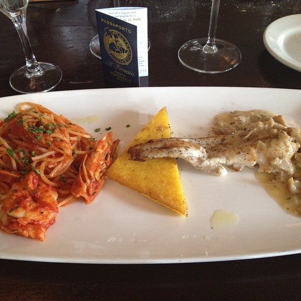 Dover Sole, Prawn, Polenta And Mushroom Sauce @ Il Fornaio