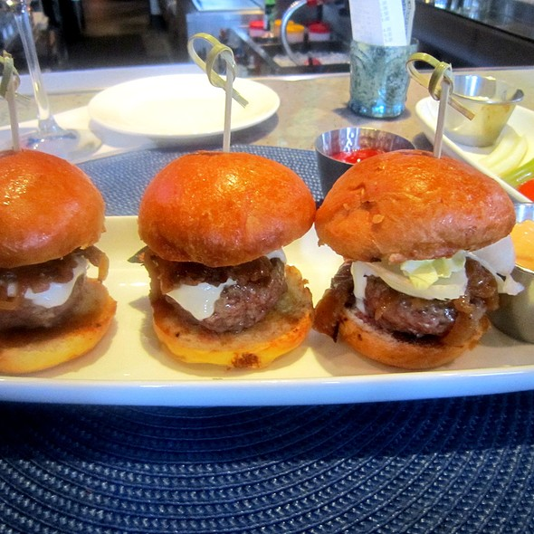 Beef Sliders with white Cheddar & caramalized onions @ Aqua Blu Kitchen & Cocktails