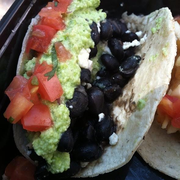 Veg Taco With Black Bean, Edamame, Guacamole, Queso, Pico De Gallo And Crema